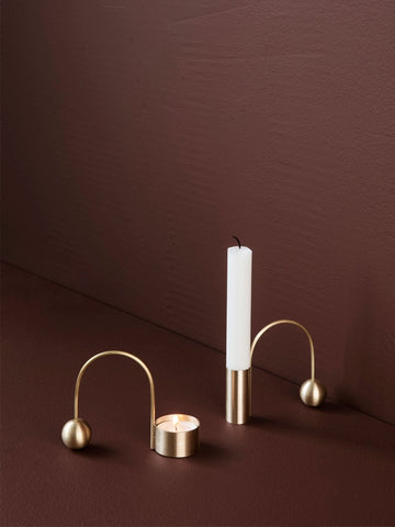 Balance Tealight Holder in Brass by Ferm Living