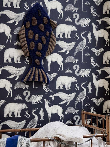 Katie Scott Wallpaper in Animal Blue by Ferm Living