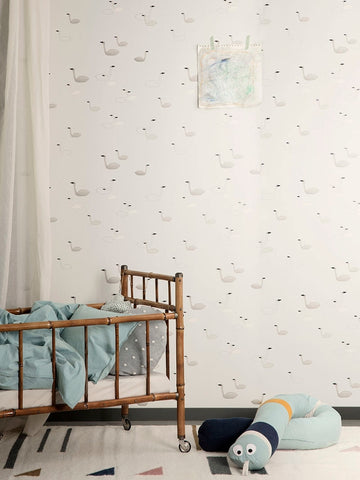 Swan Wallpaper in Grey by Ferm Living