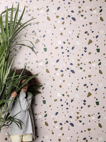 Terrazzo Wallpaper in Rose by Ferm Living