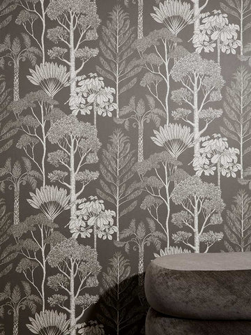 Katie Scott Wallpaper in Trees Grey
