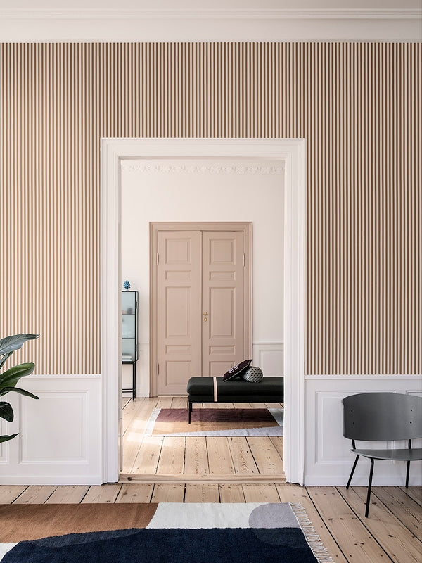 Thin Lines Wallpaper in Mustard & Off White design by Ferm Living