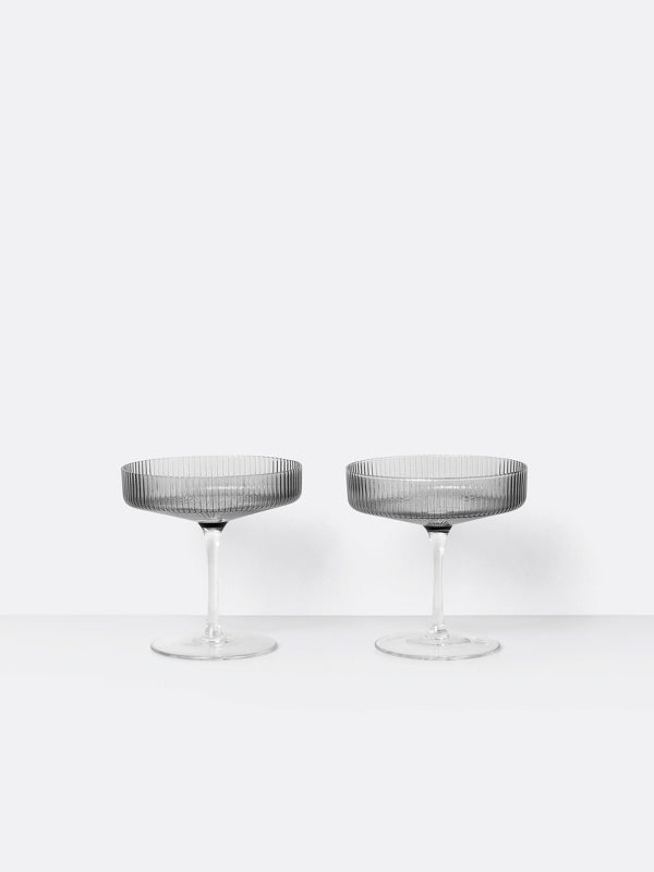 Set of 2 Ripple Champagne Saucers by Ferm Living