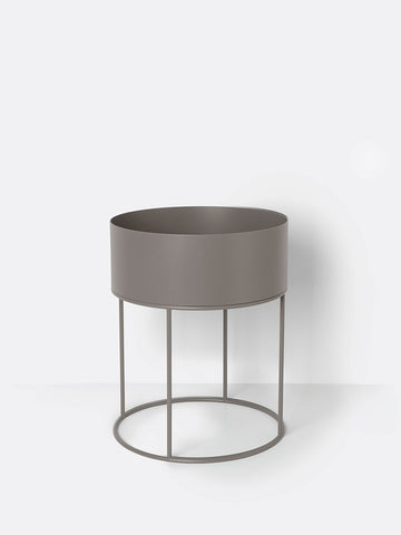 Round Plant Box in Warm Grey by Ferm Living