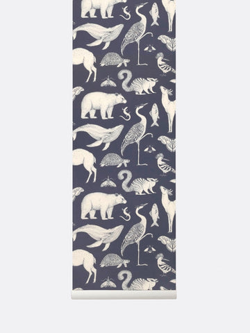 Katie Scott Wallpaper in Animal Blue