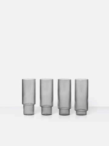 Ripple Long Drink Glasses in Smoked Grey by Ferm Living