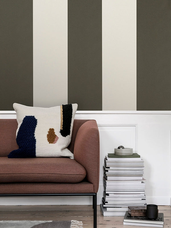 Thick Lines Wallpaper in Green & Off White design by Ferm Living