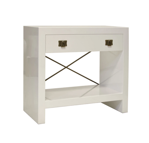 White Lacquer One Drawer Side Table with Antique Brass Hardware