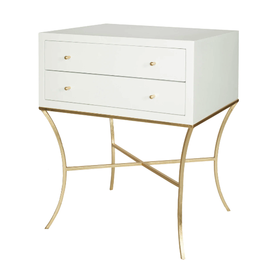 Two Drawer Side Table in White Lacquer with Gold Leaf Base