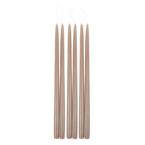 Greige Taper Candles in Various Sizes