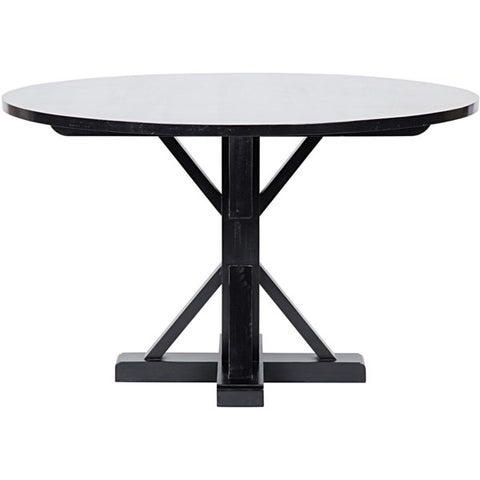 Criss-Cross Round Table in Hand Rubbed Black by Noir