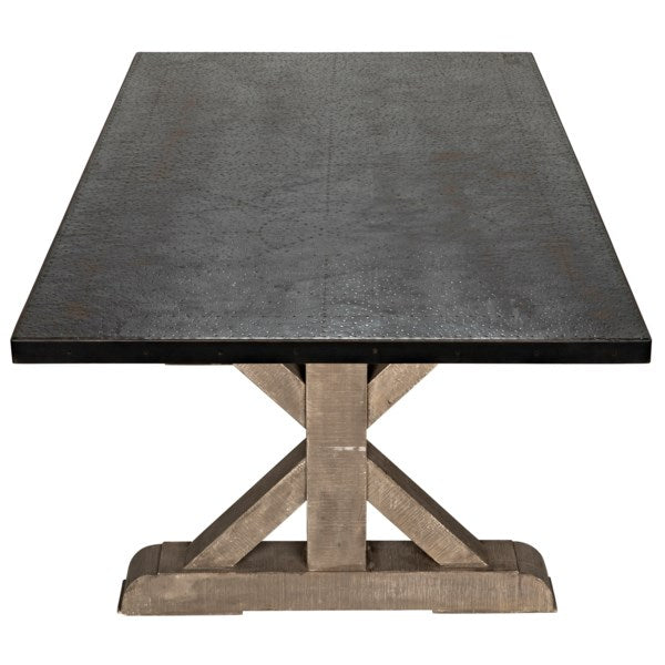 X Base Table w/ Zinc Top in Vintage