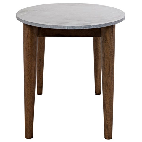 Surf Oval Dining Table w/ Stone Top in Dark Walnut by Noir