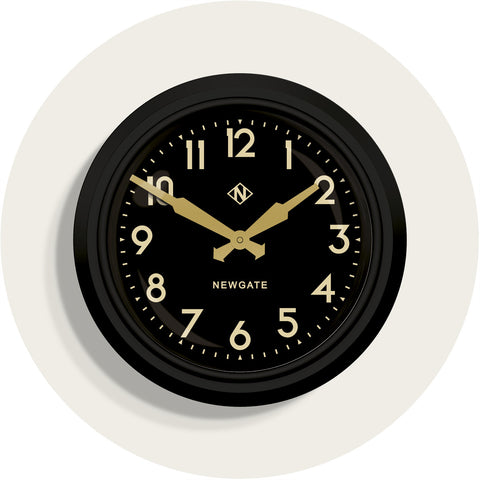 50's Electric Clock in Matte Black on Black design by Newgate