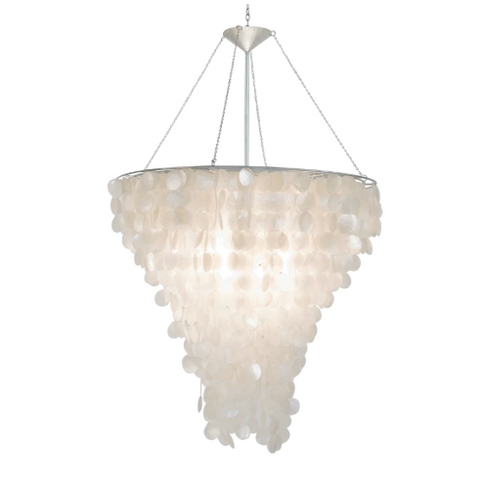 Large Round Capiz Shell Chandelier with Nickel