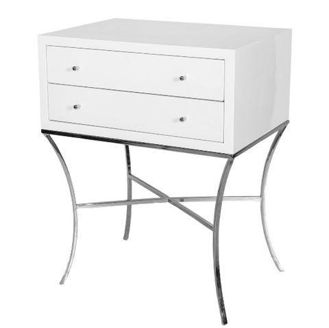 Two Drawer Side Table in White Lacquer with Nickel Base