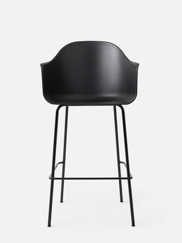 Harbour Hard Shell Bar Height Arm Chair w/ Steel Black Legs in Various Colors by Menu