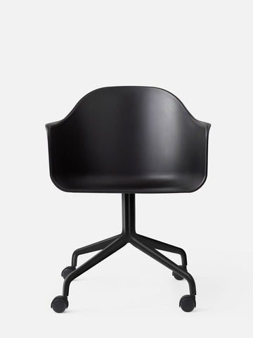 Harbour Hard Shell Chair w/ Swivel Base & Casters in Black Steel by Menu