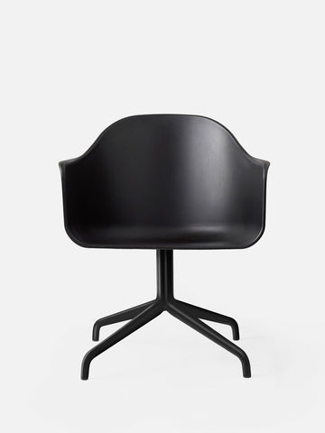 Harbour Hard Shell Swivel Base Arm Chair w/ Steel Black Legs in Various Colors