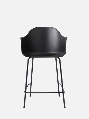 Harbour Hard Shell Counter Height Arm Chair w/ Steel Black Legs in Various Colors by Menu