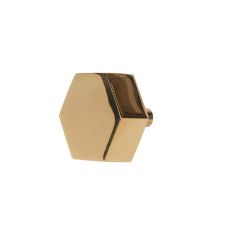 Hex Hexagon Shaped Pull in Brass Finish design by BD Studio
