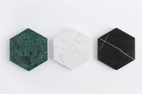 Hexagon Stone Trivet in Green Marble design by FS Objects