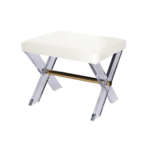 Acrylic X Base Stool with Brass Stretcher in Various Colors