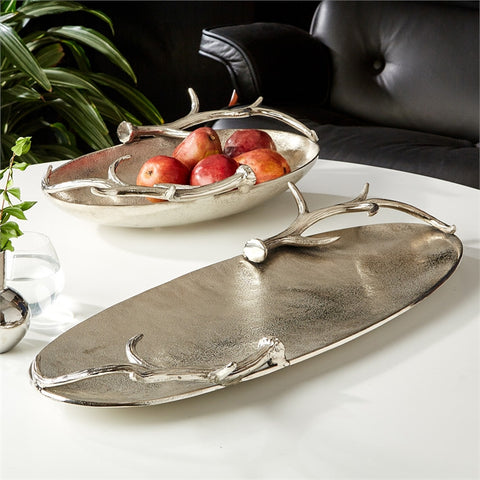 Set of 2 Silver Antler Trays design by Tozai