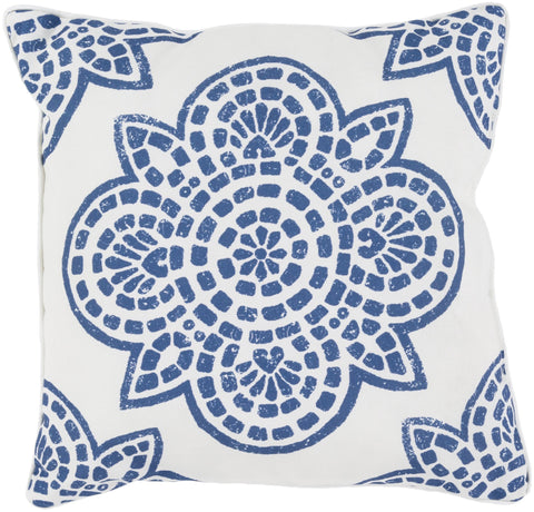 "Hemma 16"" Outdoor Pillow in Cobalt & Ivory"