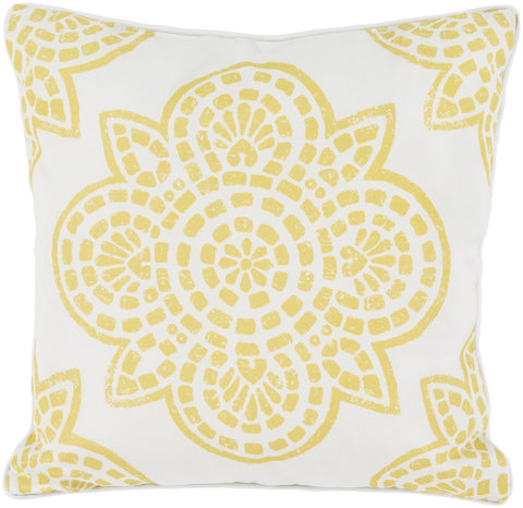"Hemma 16"" Outdoor Pillow in Gold & Ivory"