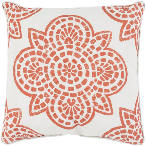 "Hemma 20"" Outdoor Pillow in Rust & Ivory"