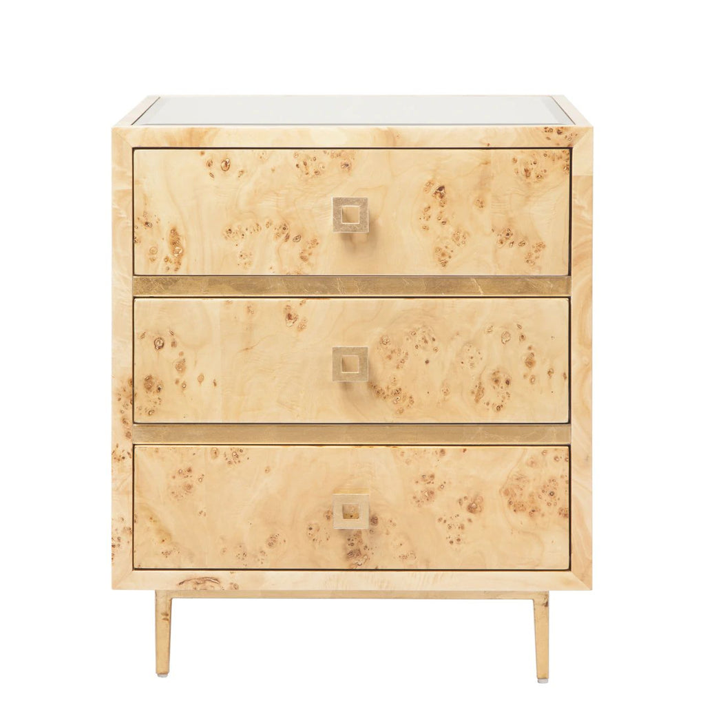 Hyde 3 Drawer Burl Wood Side Table w/ Gold Leaf Accents & Base Beveled Mirror Inset Top