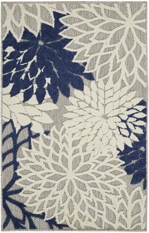 Aloha Indoor-Outdoor Rug in Ivory & Navy by Nourison