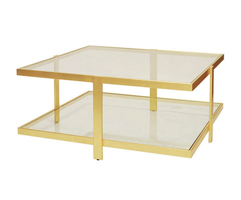 Modern Two Tier Square Coffee Table in Gold Leaf