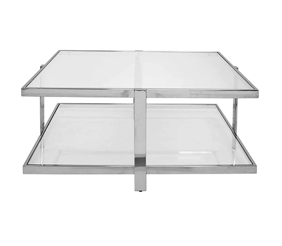 Modern Two Tier Square Coffee Table in Nickel
