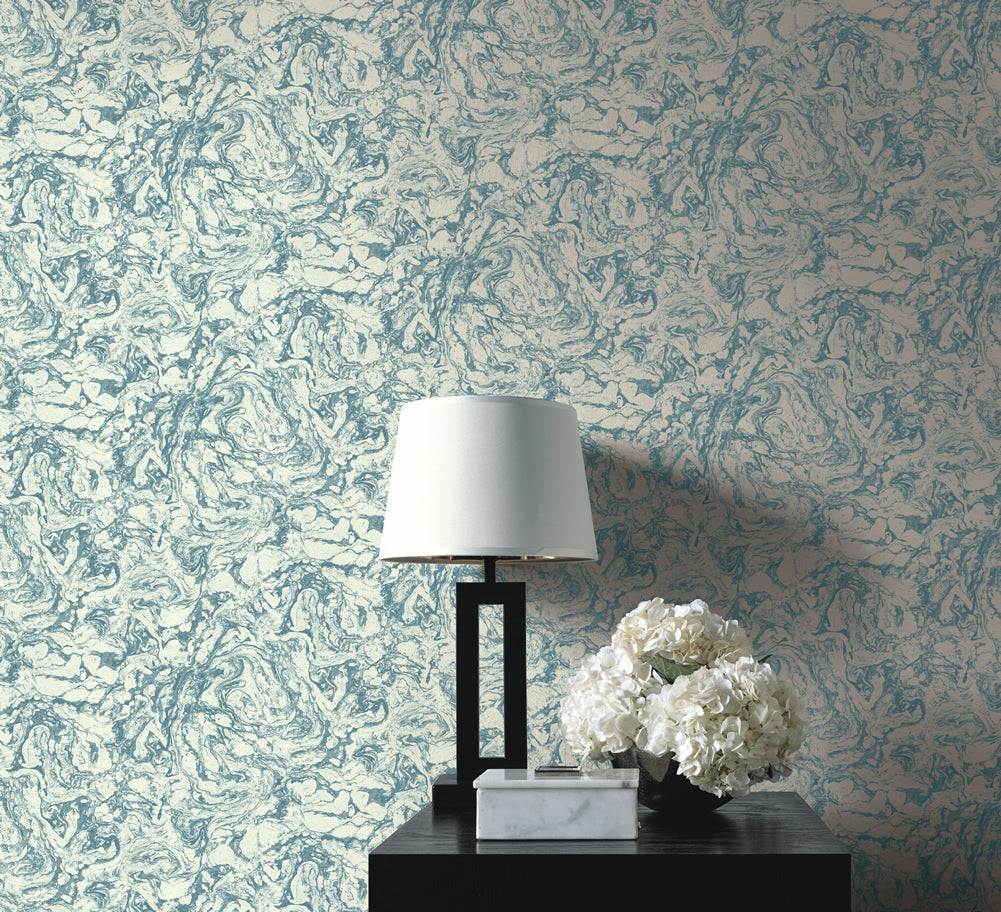 Oil and Water Wallpaper in Grey Blue from the Caspia Collection by Wallquest