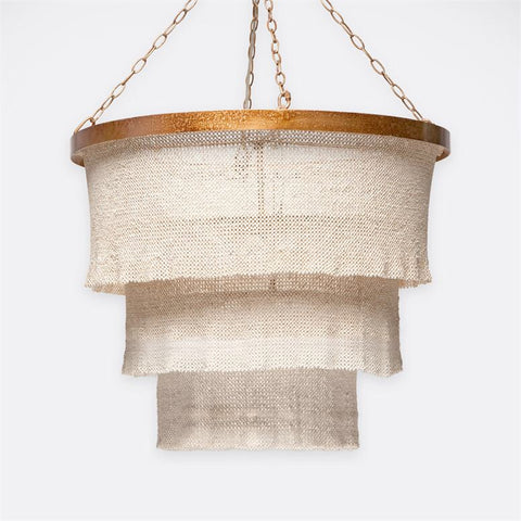 Patricia Round Chandelier in Gold Metal w/ Natural Coco Beads design by Made Goods