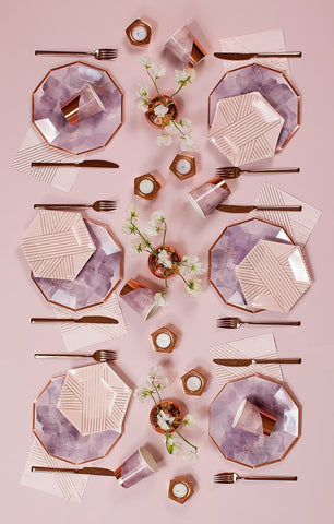 Amethyst - Pale Pink Striped Small Paper Plates