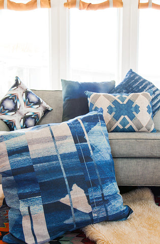 Indigo Offset Throw Pillow by elise flashman