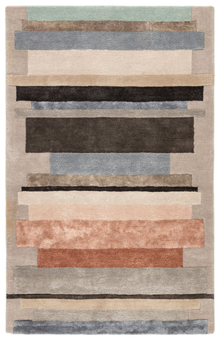Parallel Handmade Geometric Gray & Pink Area Rug