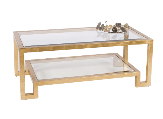 Gold Leaf Two Tier Coffee Table with Clear Beveled Glass