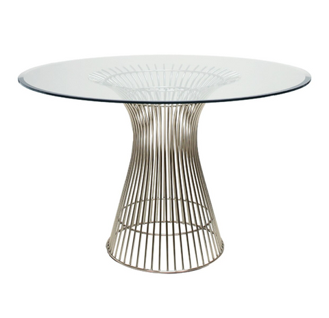 "Stainless Dining Table Base with 42"" Diameter Top"