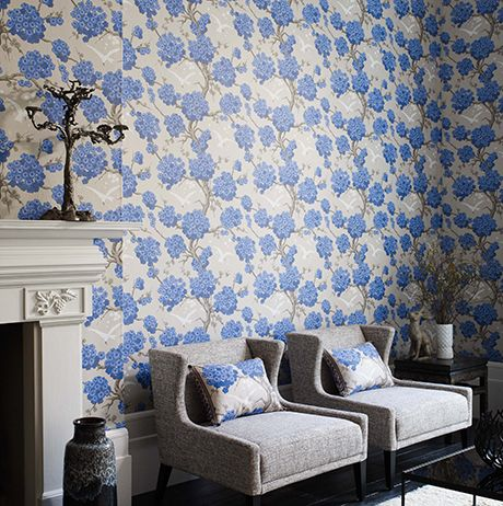 Japonerie Wallpaper in blue and tan from the Verdanta Collection by Osborne & Little