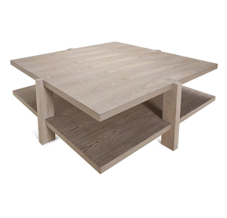 Two Tier Square Coffee Table in Cerused Oak