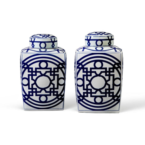 Jasper Square Jar in Blue & White design by Bungalow 5