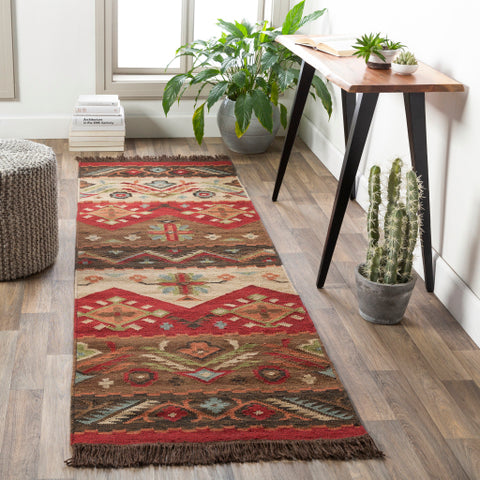 Jewel Tone Burgundy, Beige, & Black Rug