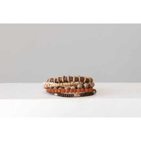 Wood & Acrylic Lille Bracelets, Set of 6