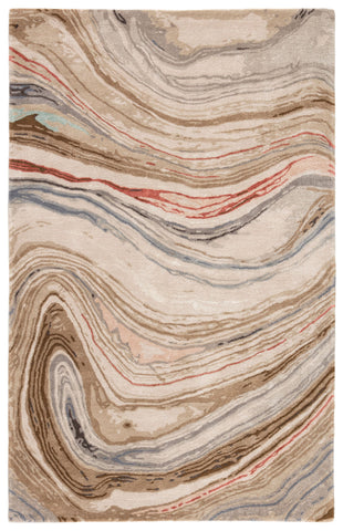 Atha Handmade Abstract Brown & Red Area Rug