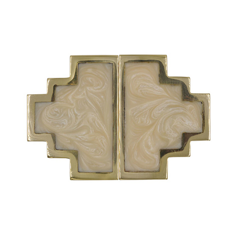 Geometric Brass Knob Pair with Inset Resin in Various Colors