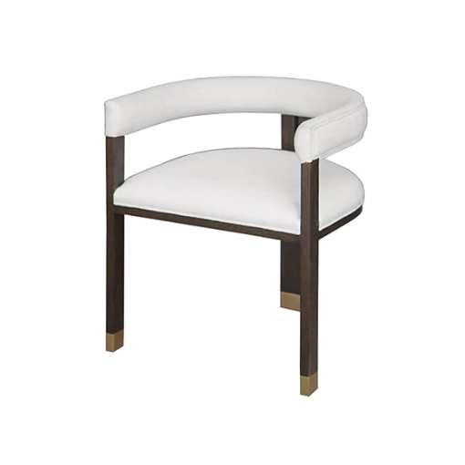 Modern Wooden Accent Chair with White Linen Upholstery